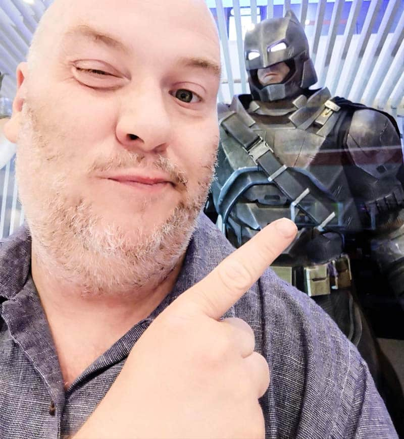 Travels with my Belly profile photo showing me and my homie batman